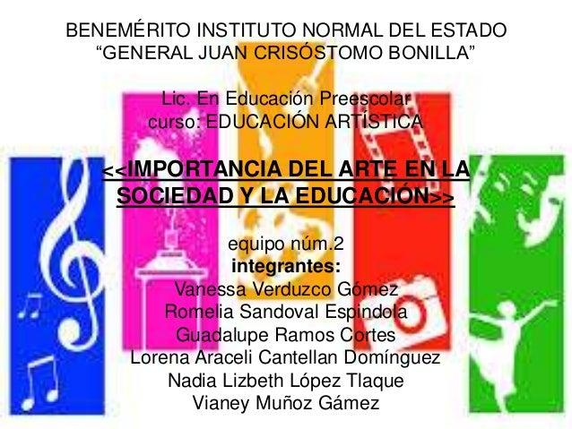 """BENEMÉRITO INSTITUTO NORMAL DEL ESTADO """"GENERAL JUAN CRISÓSTOMO BONILLA"""" Lic. En Educación Preescolar curso: EDUCACIÓN ART..."""