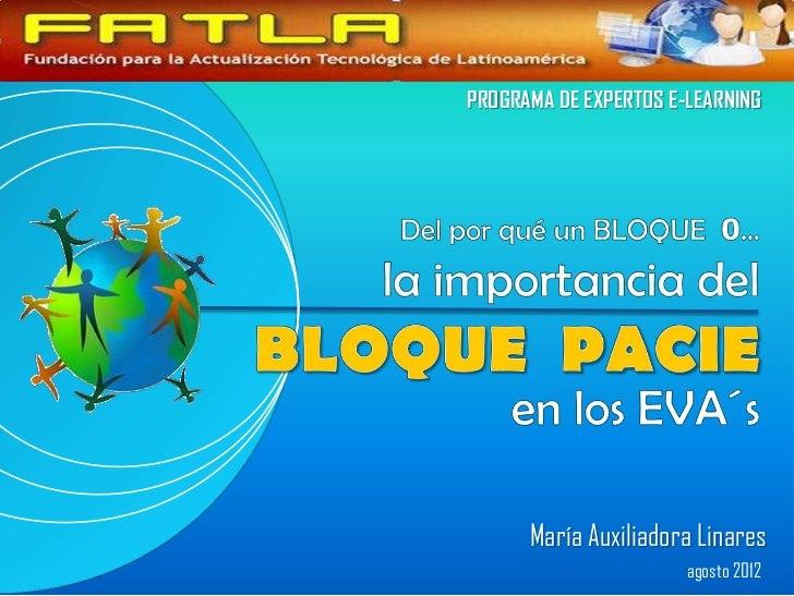 PROGRAMA DE EXPERTOS E-LEARNING      María Auxiliadora Linares                       agosto 2012