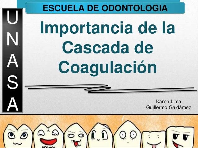 U N A S A ESCUELA DE ODONTOLOGIA Importancia de la Cascada de Coagulación Karen Lima Guillermo Galdámez