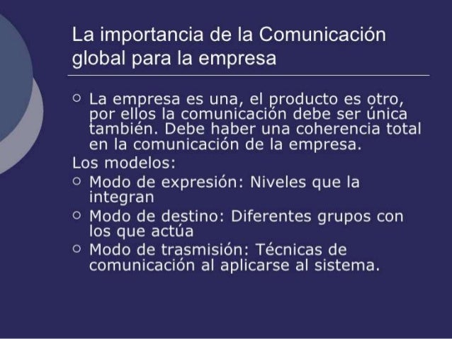 Importancia de la comunicación global