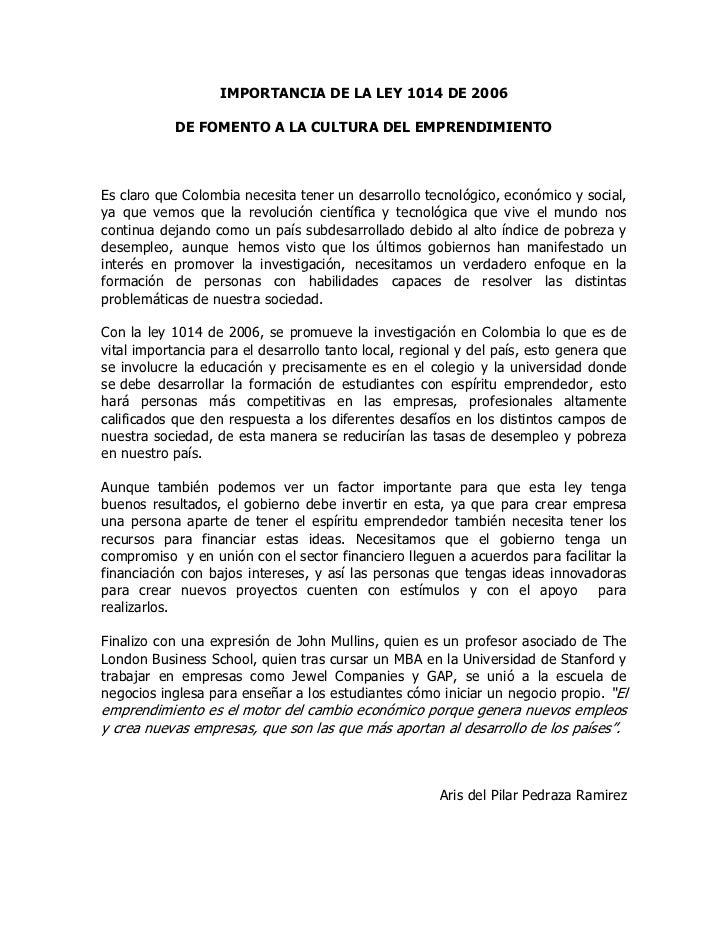 ENSAYO - IMPORTANCIA DE LA LEY 1014 DE 2006