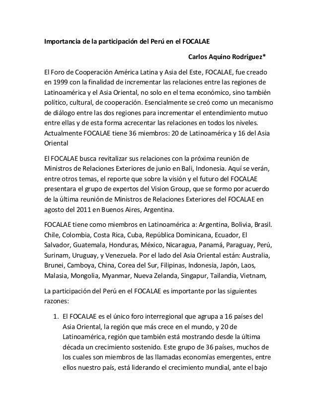 Importancia de la participación del Perú en el FOCALAE Carlos Aquino Rodríguez* El Foro de Cooperación América Latina y As...