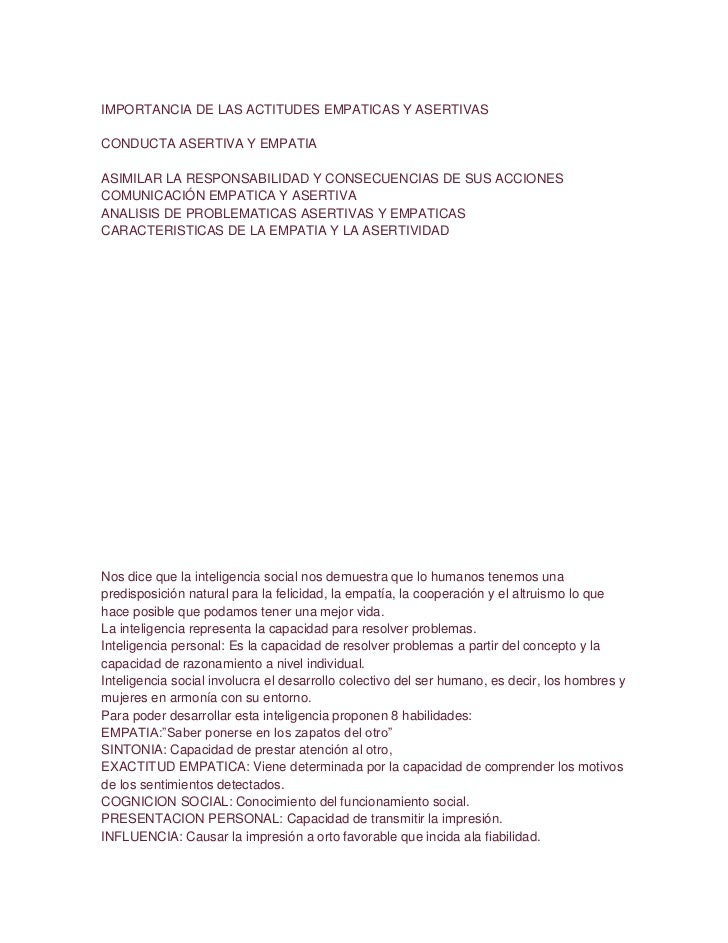 IMPORTANCIA DE LAS ACTITUDES EMPATICAS Y ASERTIVASCONDUCTA ASERTIVA Y EMPATIAASIMILAR LA RESPONSABILIDAD Y CONSECUENCIAS D...