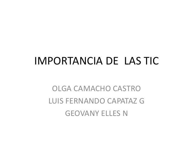 IMPORTANCIA DE LAS TIC OLGA CAMACHO CASTRO LUIS FERNANDO CAPATAZ G GEOVANY ELLES N