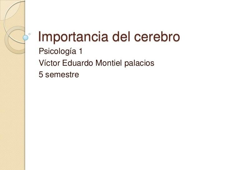Importancia del cerebroPsicología 1Víctor Eduardo Montiel palacios5 semestre