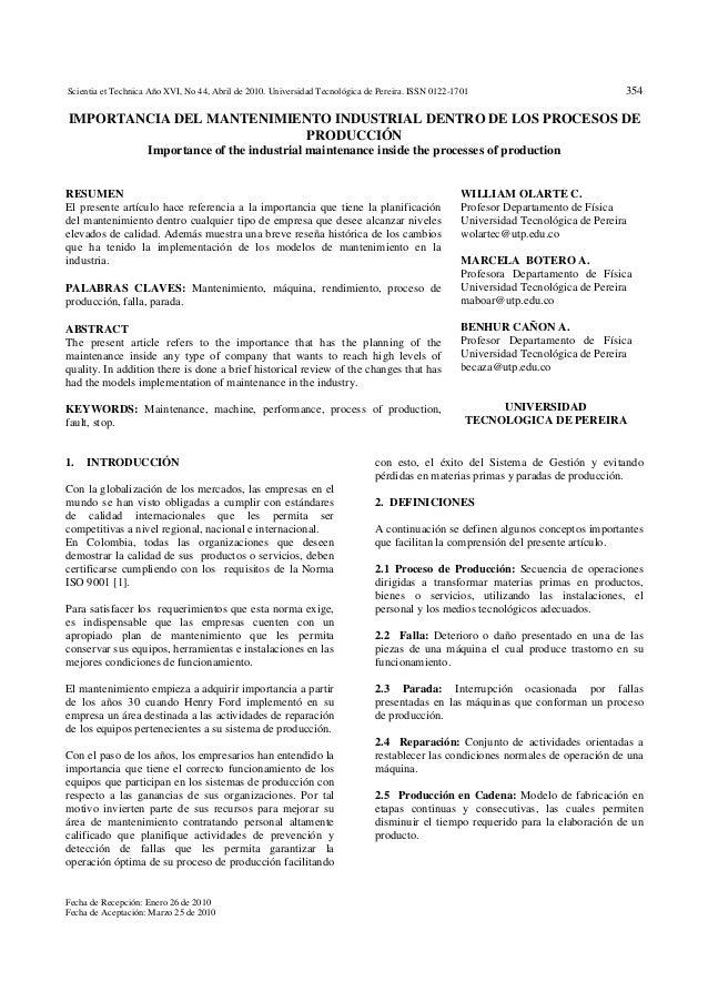 Scientia et Technica Año XVI, No 44, Abril de 2010. Universidad Tecnológica de Pereira. ISSN 0122-1701 354 Fecha de Recepc...