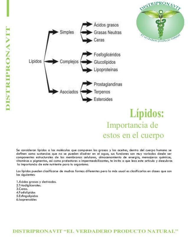 """DISTRIPRONAVIT """"EL VERDADERO PRODUCTO NATURAL"""" DISTRIPRONAVIT Lípidos: Importancia de estos en el cuerpo Se consideran líp..."""