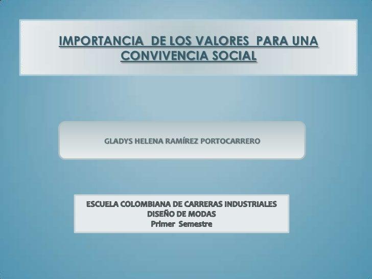 IMPORTANCIA DE LOS VALORES PARA UNA        CONVIVENCIA SOCIAL      GLADYS HELENA RAMÍREZ PORTOCARRERO