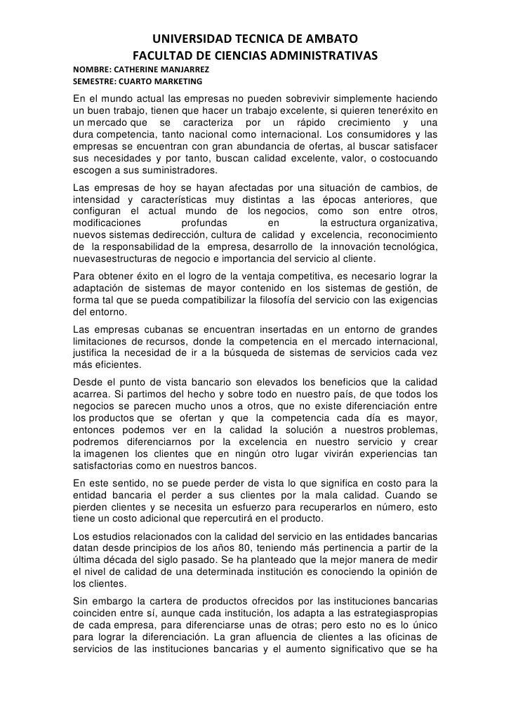 UNIVERSIDAD TECNICA DE AMBATO             FACULTAD DE CIENCIAS ADMINISTRATIVASNOMBRE: CATHERINE MANJARREZSEMESTRE: CUARTO ...