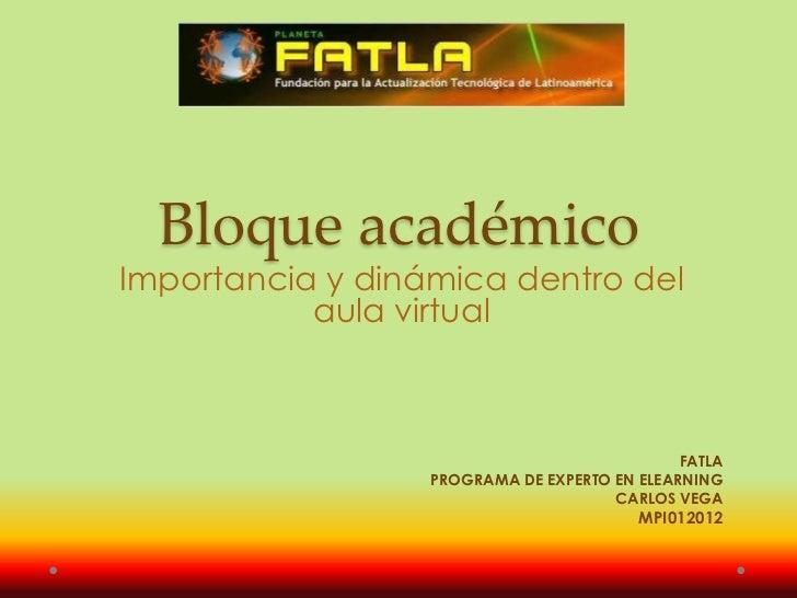 Bloque académicoImportancia y dinámica dentro del           aula virtual                                              FATL...