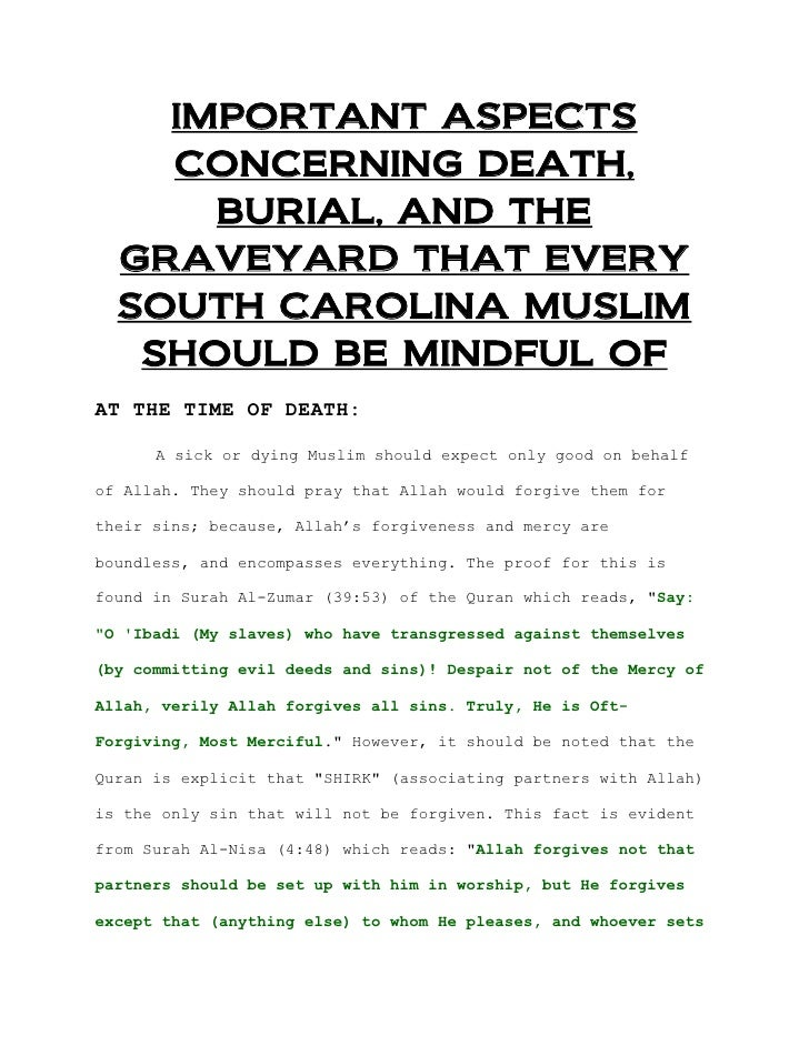 IMPORTANT ASPECTS    CONCERNING DEATH,      BURIAL, AND THE  GRAVEYARD THAT EVERY  SOUTH CAROLINA MUSLIM   SHOULD BE MINDF...