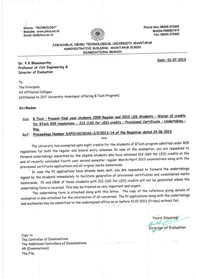 IMPORTANT CIRCULAR FOR 2013 BATCH B.TECH STUDENTS