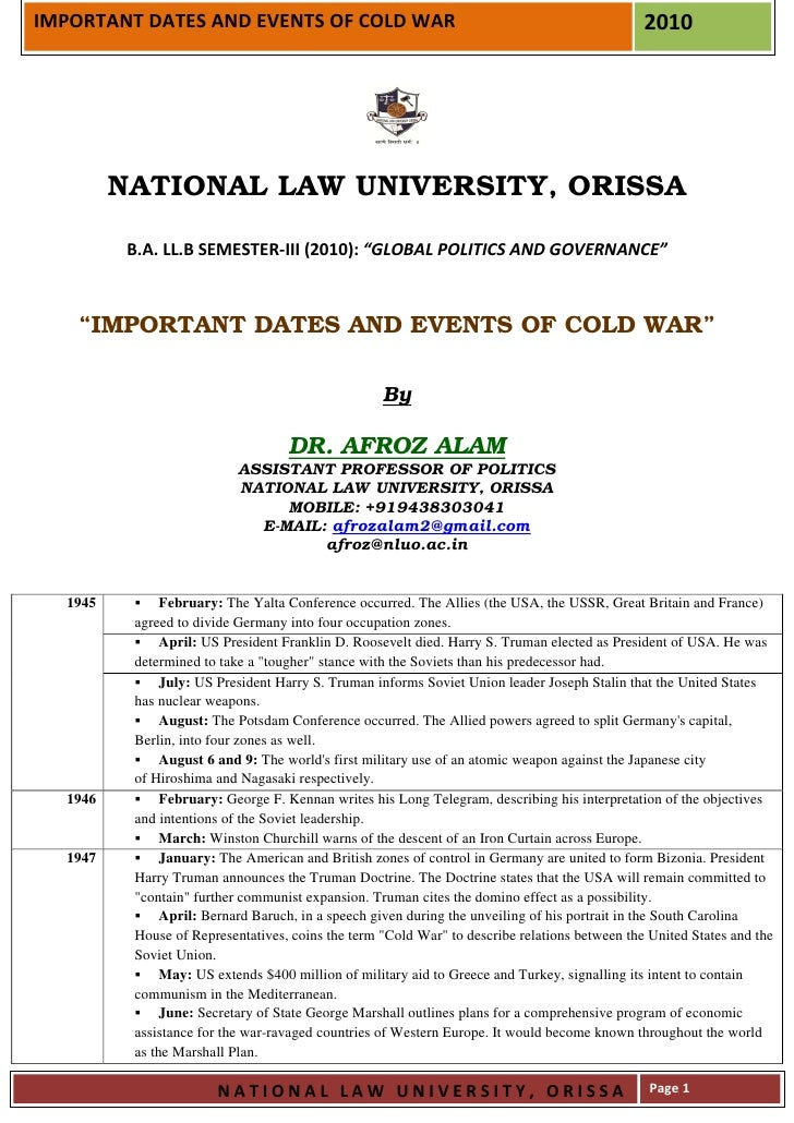 Important dates and events of cold war