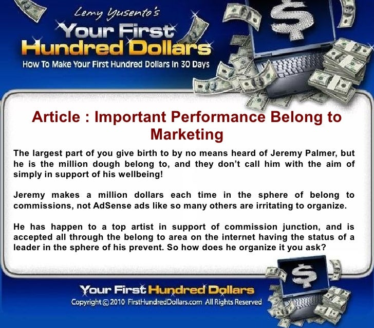 Article : Important Performance Belong to                      Marketing The largest part of you give birth to by no means...