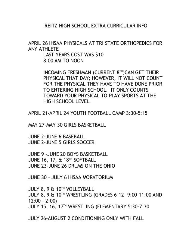 REITZ HIGH SCHOOL EXTRA CURRICULAR INFO APRIL 26 IHSAA PHYSICALS AT TRI STATE ORTHOPEDICS FOR ANY ATHLETE LAST YEARS COST ...