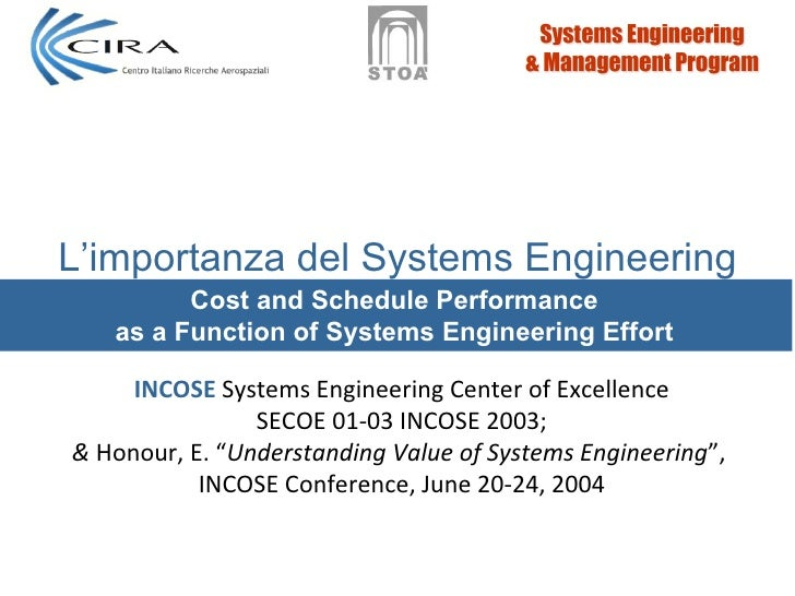 L'importanza del Systems Engineering         Cost and Schedule Performance   as a Function of Systems Engineering Effort  ...