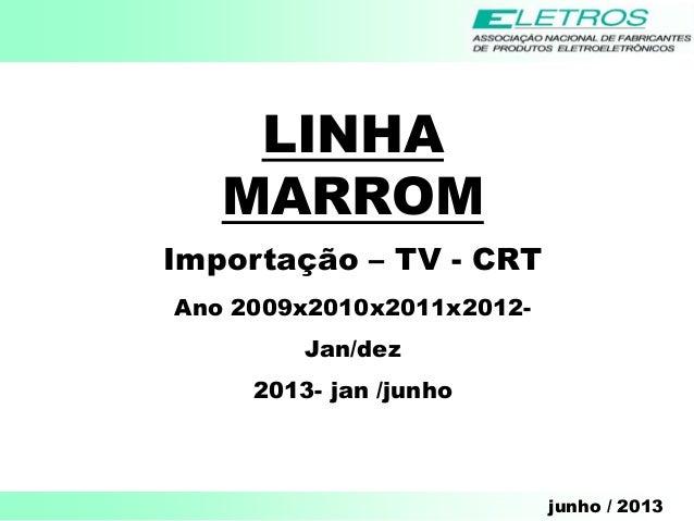 junho / 2013 LINHA MARROM Importação – TV - CRT Ano 2009x2010x2011x2012- Jan/dez 2013- jan /junho