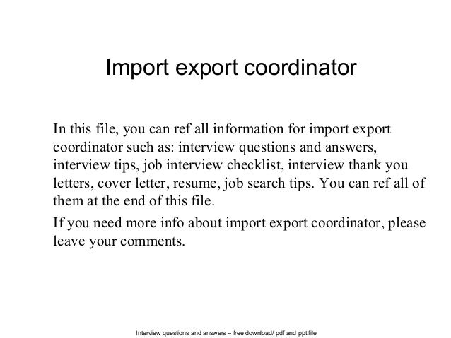 and ppt fileimport export coordinatorin this file you can ref all