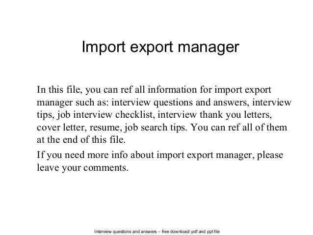 Import export manager