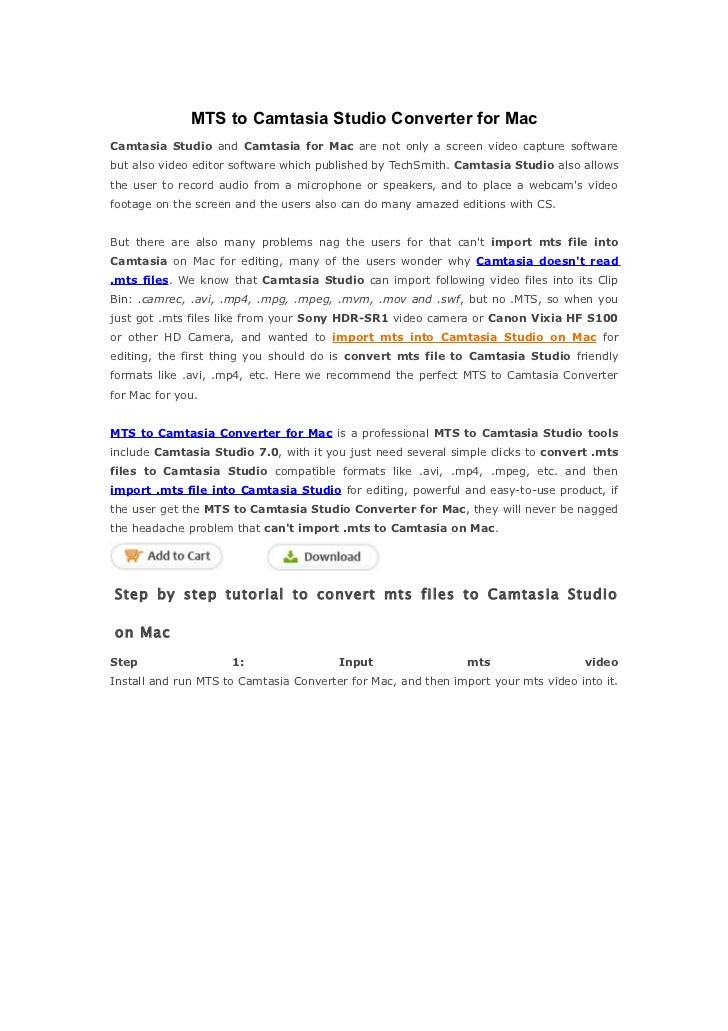 MTS to Camtasia on Mac - Convert/Import mts files to Camtasia Studion on Mac