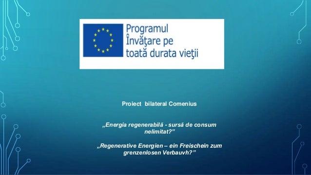 """Proiect bilateral Comenius """"Energia regenerabilă - sursă de consum nelimitat?"""" """"Regenerative Energien – ein Freischein zum..."""
