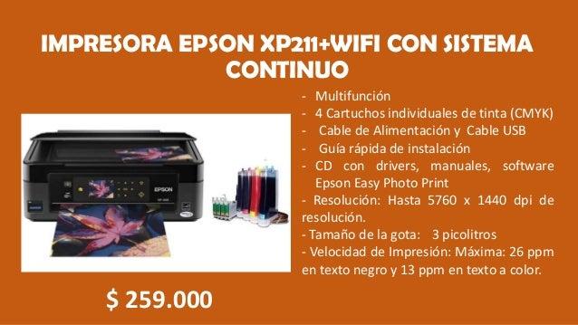 IMPRESORA EPSON XP211+WIFI CON SISTEMA CONTINUO - Multifunción - 4 Cartuchos individuales de tinta (CMYK) - Cable de Alime...