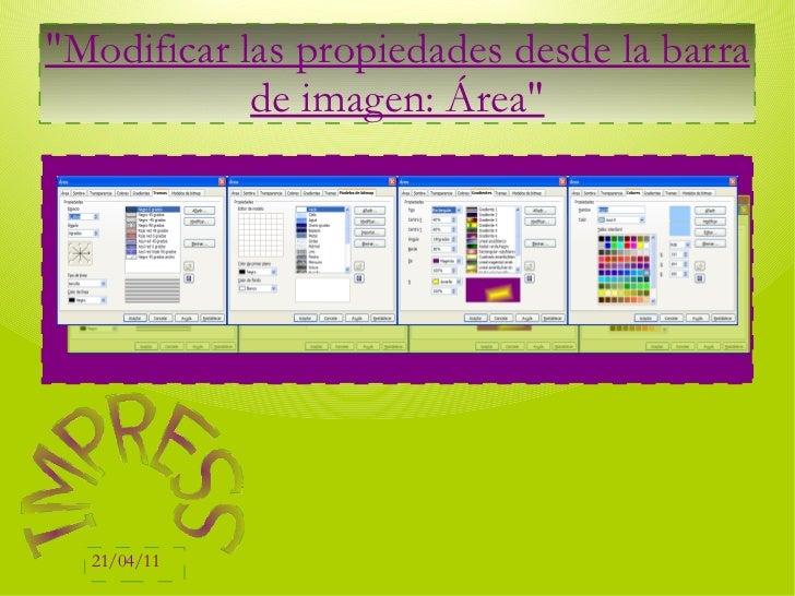 """""""Modificar las propiedades desde la barra de imagen: Área"""" IMPRESS"""