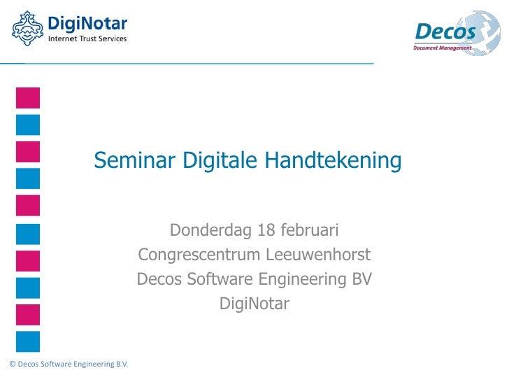 Seminar Digitale Handtekening