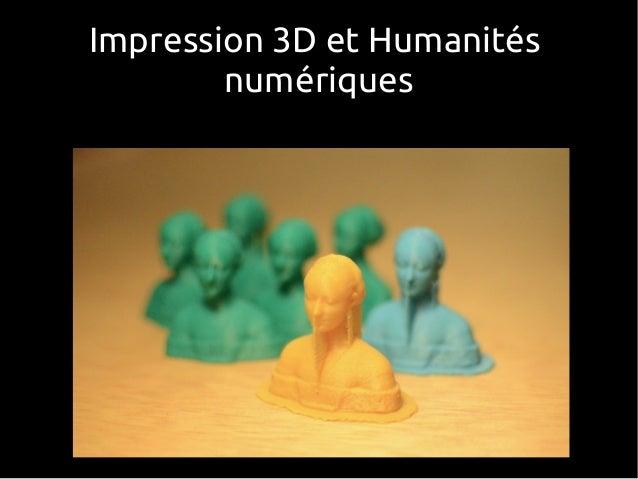 Impression 3D et Humanités numériques