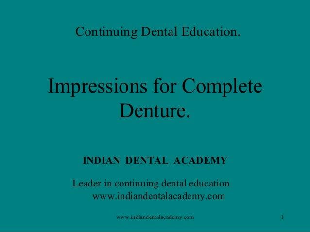 Impression procedures / implant dentistry course/ implant dentistry course