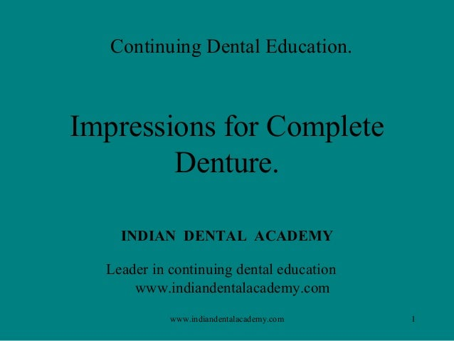 Impression procedures / implant dentistry course/ implant dentistry course