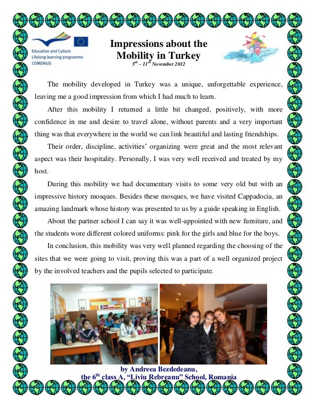 Impressions about the mobility in Turkey by Romanian students 2012