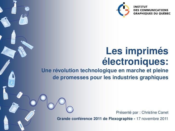 Les imprimés                            électroniques:Une révolution technologique en marche et pleine    de promesses pou...