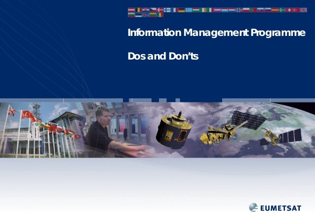 Information Management Programme Dos and Don'ts