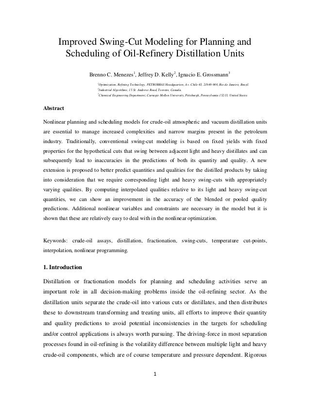 Improved Swing-Cut Modeling for Planning and Scheduling of Oil-Refinery Distillation Units