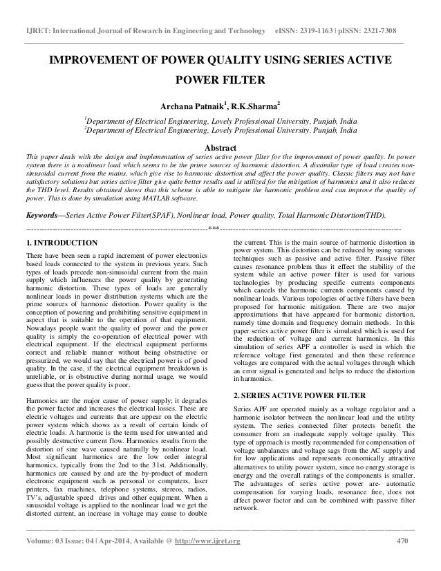 power quality using active filters research papers Power quality improvement using dpc controlled three this paper presents a new control method a chandraa review of active filters for power quality.
