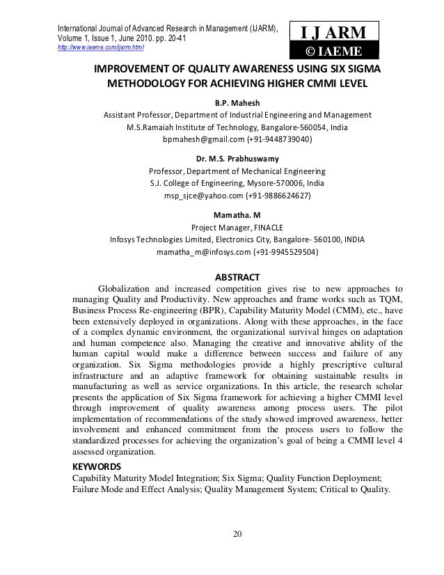 International Journal of Advanced Research in Management (IJARM),Volume 1, Issue 1, June 2010. pp. 20-41       Prabhuswamy...