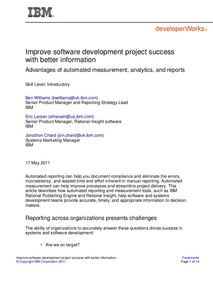 Improve software development project success      with better information      Advantages of automated measurement, analyt...