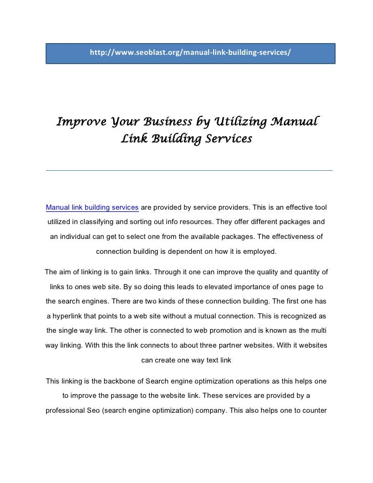 Improve your business by utilizing manual link building services