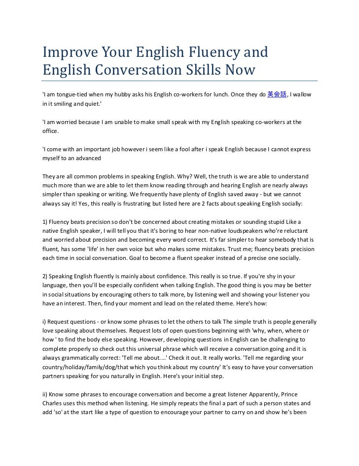 Improve Your English Fluency andEnglish Conversation Skills NowI am tongue-tied when my hubby asks his English co-workers ...