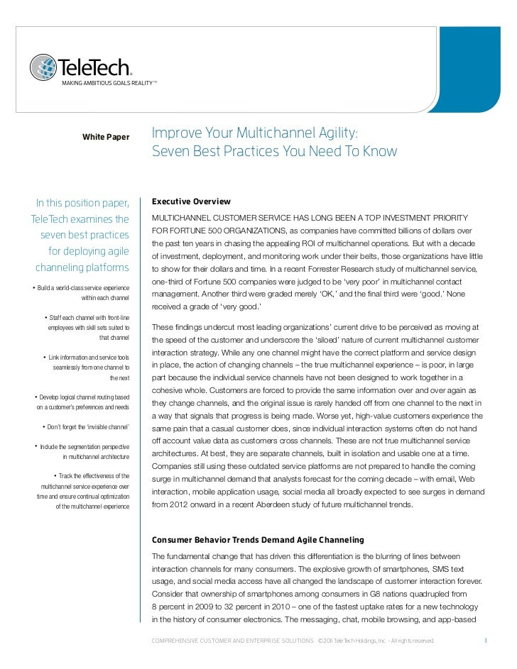 White Paper              improve Your multichannel agility:                                                    seven Best ...
