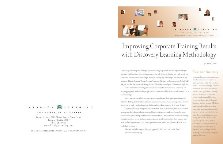 Improving Corporate Training Results With Discovery Learning Methodology