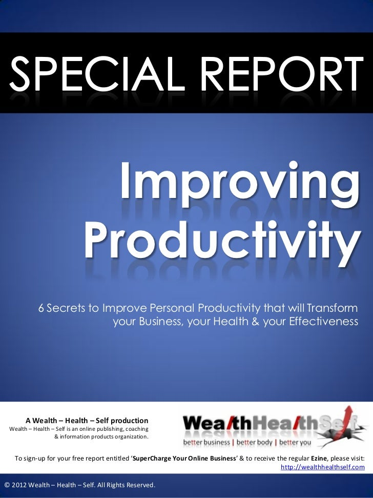Improving                              Productivity            6 Secrets to Improve Personal Productivity that will Transf...
