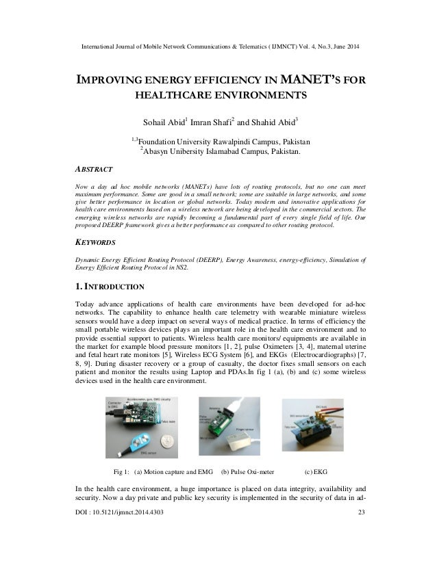 Improving energy efficiency in manet's for healthcare environments