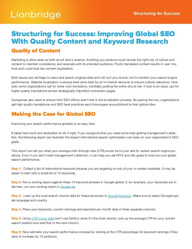 Structuring for SuccessStructuring for Success: Improving Global SEOWith Quality Content and Keyword ResearchQuality of Co...
