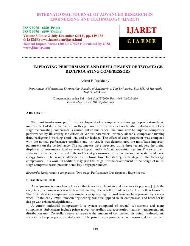 Improving performance and development of two stage reciprocating compressors