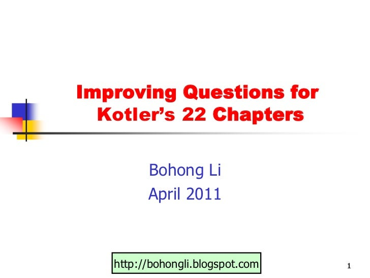 Improving Questions for 22 Chapters Bohong Li