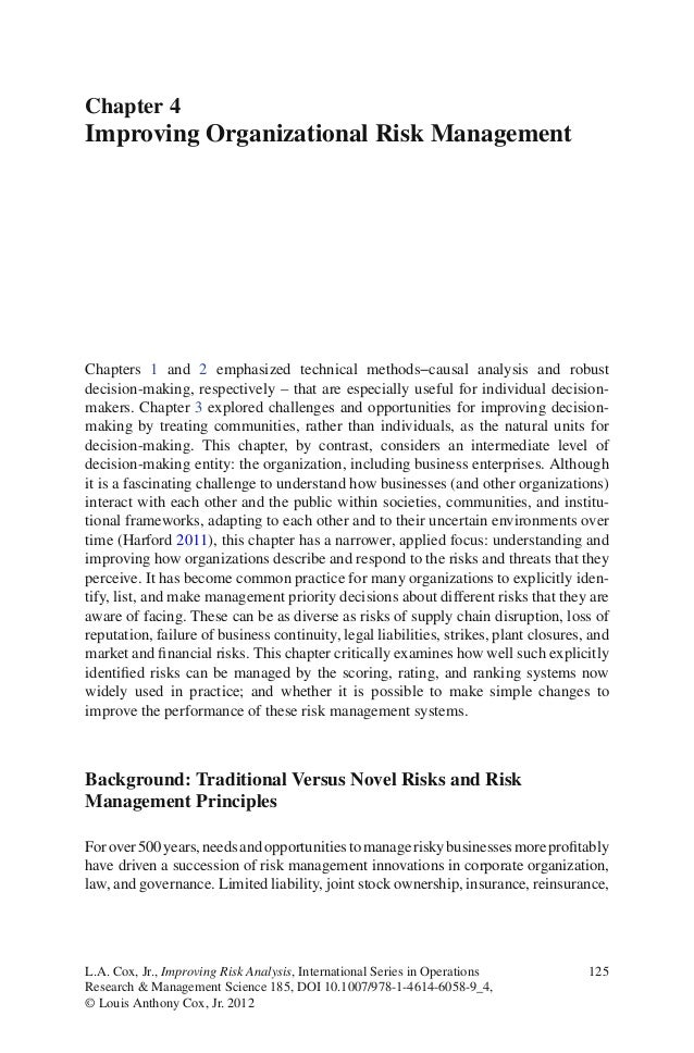125L.A. Cox, Jr., Improving Risk Analysis, International Series in OperationsResearch & Management Science 185, DOI 10.100...