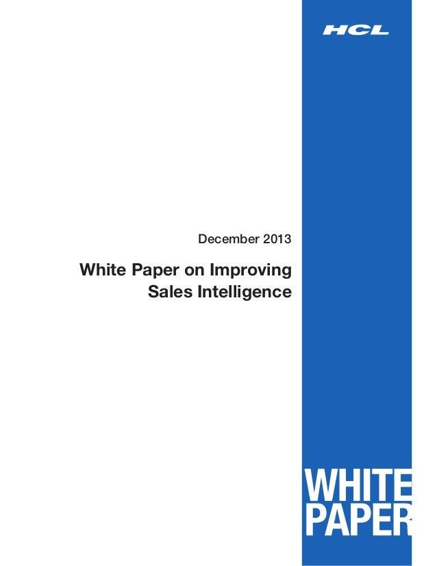White Paper on Improving SalesIntelligence December 2013