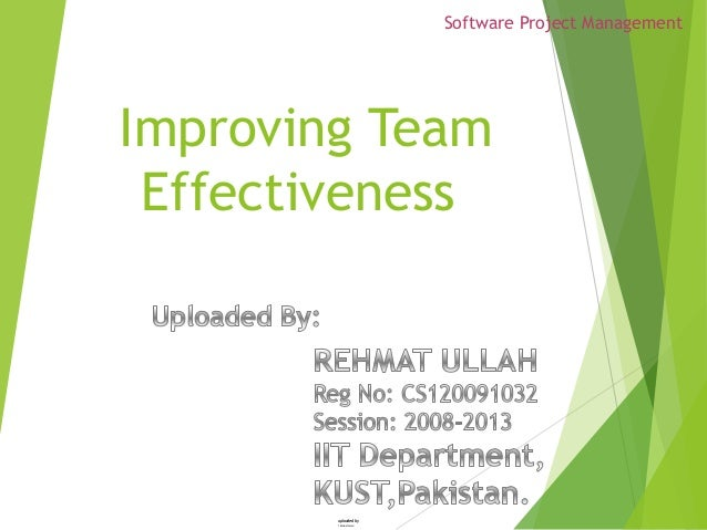 Software project management Improving Team Effectiveness